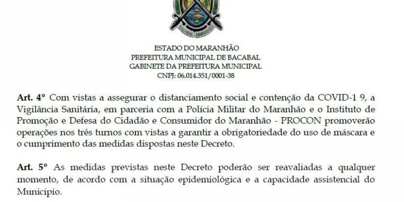 Decreto com restrições é prorrogado até o dia 28 de março em Bacabal