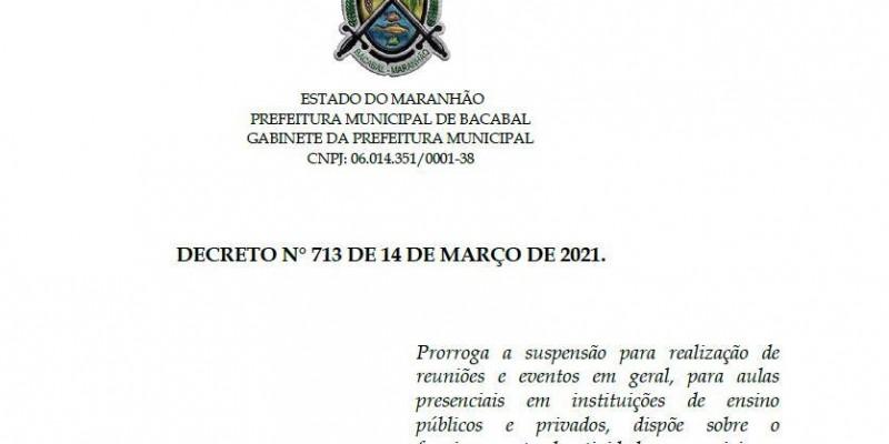 Novo decreto prorroga medidas restritivas em Bacabal