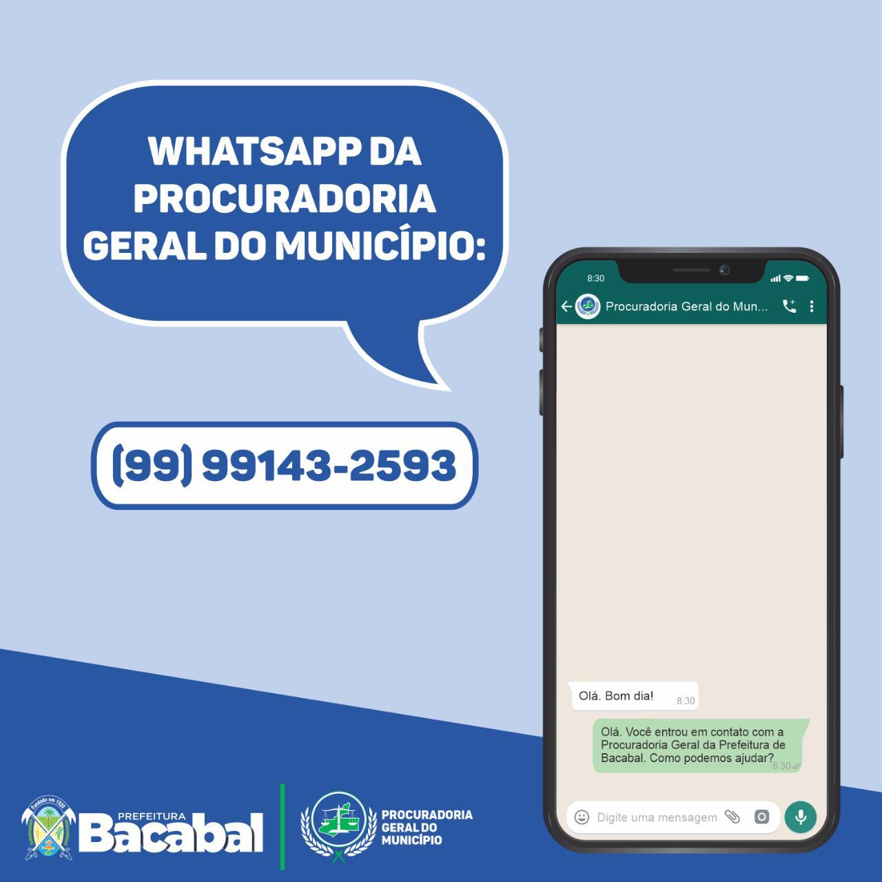 Procuradoria de Bacabal cria canal de atendimento pelo WhatsApp