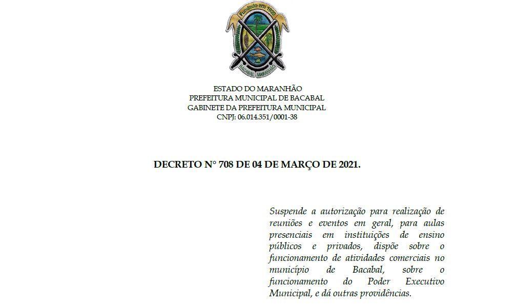 Prefeito de Bacabal edita decreto com novas medidas de combate à Covid-19