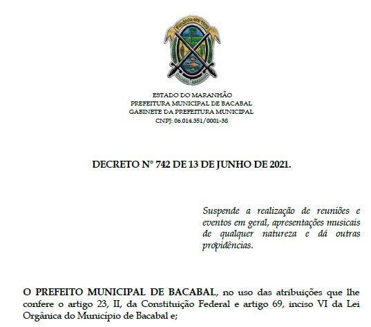 Decreto proíbe a realização de eventos em Bacabal